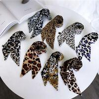 Chic Neckwear Hair Tie Band Neckerchief Little Silk Scarf Leopard Print Ribbon
