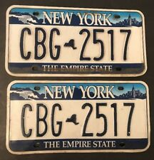 New York State License Plates Tag Pair Empire Skyline Niagara Falls Blue CBG2517