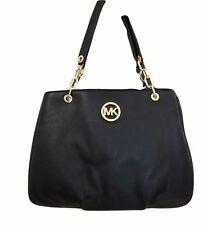 Michael Kors Fulton Chain Black Leather Large Shoulder Tote - $358 MSRP!
