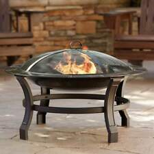 "30"" Outdoor Fire Pit Bowl Round Wood Burning Steel Fireplace Backyard Patio"