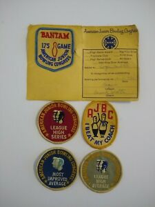 Vintage 1970's AJBC American Junior Bowling Congress Patch Lot of 5 Patches