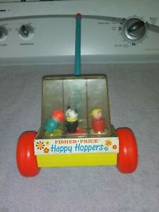 FISHER PRICE VINTAGE 1969 HAPPY HOPPERS PUSH TOY #121 GIRL DOG BOY