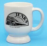 Frankoma Pottery Jenks America Oklahoma Cup Mug C2 White Pedestal 8 Oz EUC
