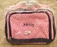 "NWT Pottery Barn Kids Mackenzie Stowaway Luggage Pink White Monogram ""Molly"""
