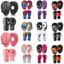 Men Women Focus Pads and Boxing Gloves Set Hook & Jabs Mitts Ladies MMA Fight