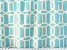 Drapery Upholstery Fabric 100% Cotton Geometric Chain Print - Ivory / Aqua