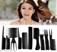 FP 1 Set(10 pcs) Peigne Brosse à Cheveux Coiffure Salon Outil Noir 15cm-23cm