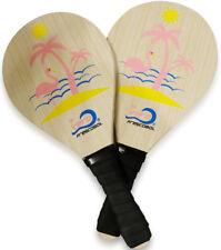 Florida Frescobol birch wood beach paddle ball, red high visibility balls, bag