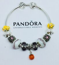 Authentic Pandora Sterling Silver Bracelet with Sterling Silver European Charms