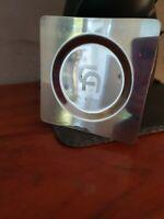 Cendrier publicitaire ancien vintage CA Credit Agricole en métal argenté 11x11cm