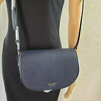 New Kate Spade  Reiley Flap Crossbody Bag  Blazer Blue leather suede WKRU5891