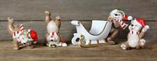 Vintage FITZ & FLOYD Christmas SANTA BEAR Tumbling Figurines Candle Holder 1981