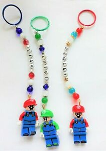 Personalised Super Mario  keyring /bag charm ( you chose a name) handcrafted