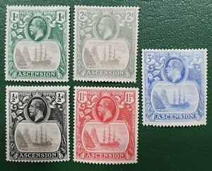 5 Sellos Ascension . BRITISH COLONY, 1924