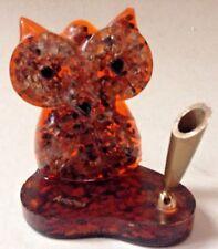 Vintage Mid Century Lucite OWL Pen Holder Desk Accessory Fun Funky Orange Owl