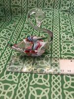 """Cape Cod Glass Works Technicolor Swan 3.25"""" Decorative Figure FREE SHIPPING"""
