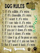 DOG RULES NOVELTY METAL DECORATIVE PARKING SIGN