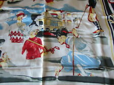 """New Silk Satin 42"""" Sq Scarf Golf Country Scenes Abstract Cream Red Green Navy"""