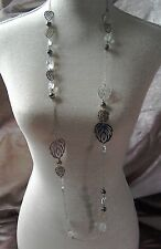 long silver coloured chain summer necklace beads leaf shapes
