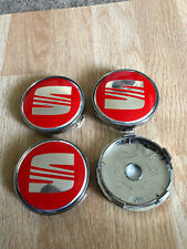 4x Seat Wheel Centre Cap Alloy Hub New Set Of 4 Centre Caps 60mm Red/Silver