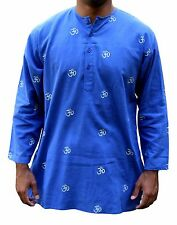 Shirt Tunic Kurta Om Symbol Handmade 100% Soft Cotton Gorgeous Blue Extra Large