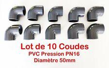 Lot de 10  50mm 5cm Coudes 90° PVC Pression PN16 / Piscine et arrosage 50mm F/F