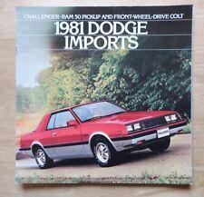 DODGE IMPORTS 1981 USA Mkt Large Sales Brochure - Challenger Ram 50 Pick-Up Colt