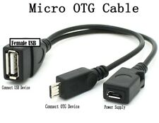 Micro USB OTG Cable with Additional Micro USB Female Cable Extender for Power