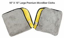 "2 Microfiber Cloth Towels 16"" X 16"" Premium Coral Fleece Rags car kitchen patio"