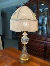 """Vintage Mid Century Cut Crystal and Brass Lamp, 23"""" Tall (Bottom to Socket)"""