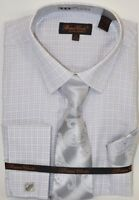 Men's Dress Shirt Tie Hanky Set Light Gray Checks Cuff Links French Cuff