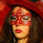 SEXY Maschera Per Occhi Veneziana da viso Festa Di Carnevale ROSSO NERO NUOVO