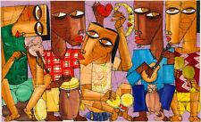CUBAN ART #131 ** DIEGUEZ ** GRUPO DE LA CALLE 60X36 SIGNED ON CANVAS