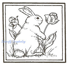 Bunny And Tulip Square, Wood Mounted Rubber Stamp Northwoods - New, Cc7931