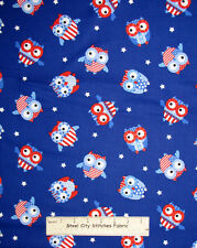 Timeless Treasures Patriotic Owls Hoot Owl  Flag USA C1345 Cotton Fabric YARD