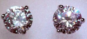 4 ct tw Martini Earrings Moissanite Simulant Screwbacks 14 Kt White Gold