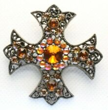 Brooch Pin - Maltese Cross - Filigree - AB & Orange Rhinestones - Gold Tone