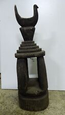 ANTIQUE AFRICAN CARVED TOTEM STAND SPIRIT BIRD FIGURE CARVING