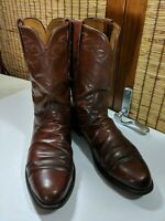 Lucchese Classics Leather Cowboy Boots Handmade Brown Calf 11D L3520RR L3004
