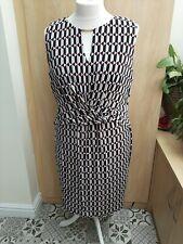 F&F Wrap Dress Size 22 Black Red Geometric Print