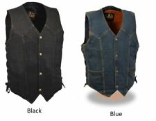 Men's Side Lace Denim Black or Blue Color Classic Snap Front Biker Vest DM1315