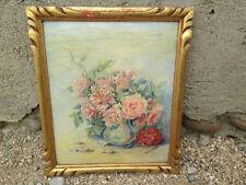 Ancien cadre bois doré vintage peinture sur isorel bouquet signé Marcel ROSTIN