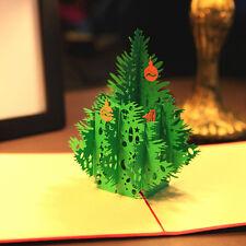3D Weihnachtsbaum POP UP Karte Weihnachtskarte Klappkarte Tannenbaum Grün HOT