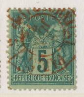 """FRANCE 1878 N°75 5c SAGE OBL. cad ROUGE """" JOURNAUX / PARIS / PP 5 """""""