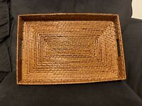 Vintage Wicker Serving Tray with Handles-  Very Sturdy