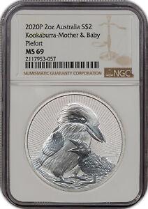 2020P 2OZ AUSTRALIA S$2 KOOKABURRA-MOTHER & BABY PIEFORT MS69 HIGH GRADE #B