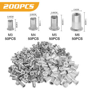 200Pcs Aluminum Rivet Nut Kit Metric Rivnut Insert Nutsert Assort M3 M4 M5 M6 US