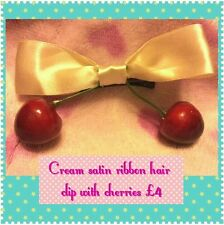Hair clip cherry. Satin ribbon bow. Rockabilly. Punk. Emo. Alternative.