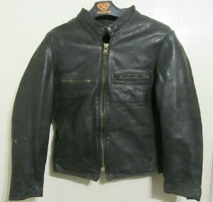 VINTAGE 70's DISTRESSED LEATHER CAFE RACER MOTORCYCLE JACKET SIZE S ACE PATINA