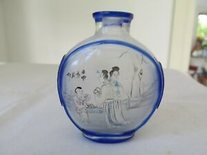 Antique Signed Japanese Glass Perfume Bottle Hand Carved from Two Layers Glass